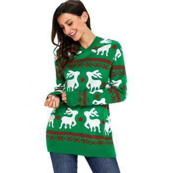 Christmas Hooded Deer Jacquard Sweater - GREEN M