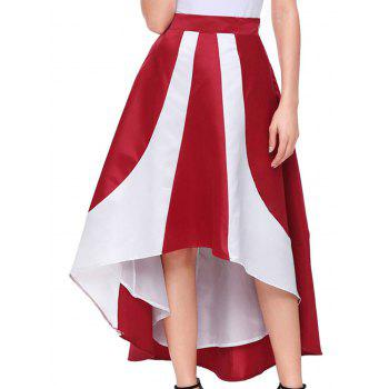 High Low Color Block Maix Skirt - RED RED