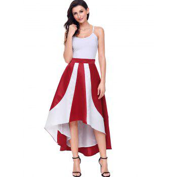 High Low Color Block Maix Skirt - RED L
