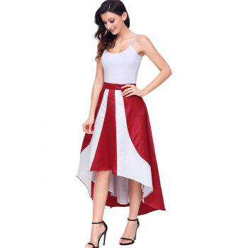 High Low Color Block Maix Skirt - RED S