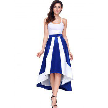 High Low Color Block Maix Skirt - BLUE XL