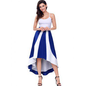 High Low Color Block Maix Skirt - BLUE BLUE