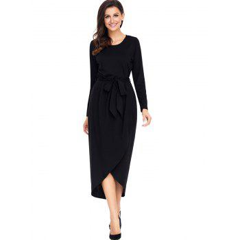 Long Sleeve Belted Tulip Dress - BLACK BLACK