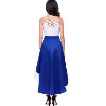 High Low Color Block Maix Skirt - BLUE S