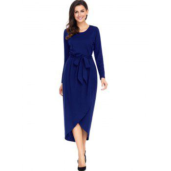 Long Sleeve Belted Tulip Dress - BLUE 2XL