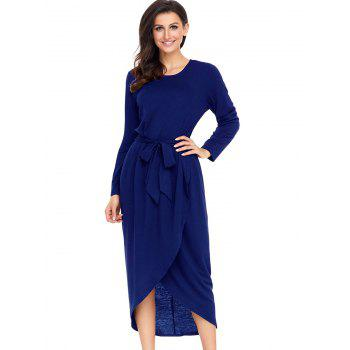 Long Sleeve Belted Tulip Dress - BLUE L