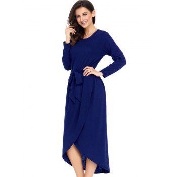 Long Sleeve Belted Tulip Dress - BLUE S