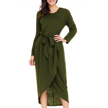 Long Sleeve Belted Tulip Dress - ARMY GREEN ARMY GREEN