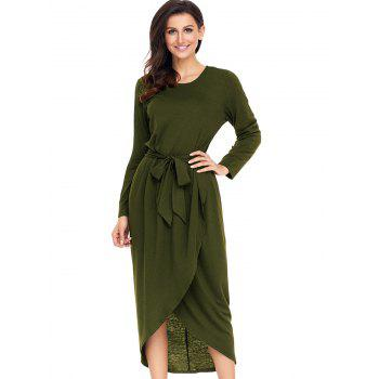 Long Sleeve Belted Tulip Dress - ARMY GREEN XL