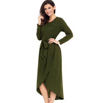 Long Sleeve Belted Tulip Dress - ARMY GREEN S