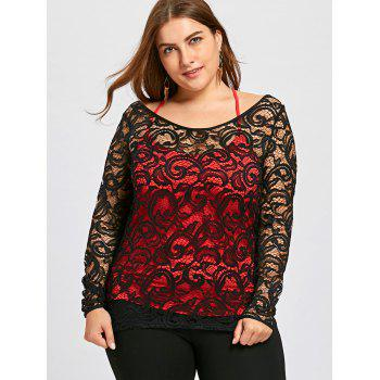 Plus Size Lace Blouse with Criss Cross Tank Top - BLACK 2XL