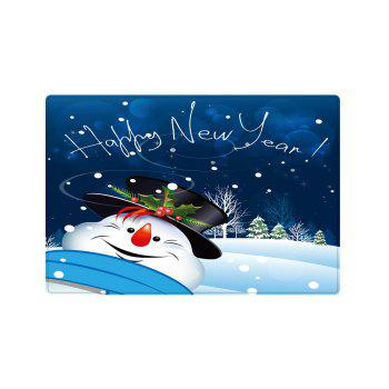 Happy New Year Snowman Pattern Indoor Outdoor Area Rug - BLUE BLUE