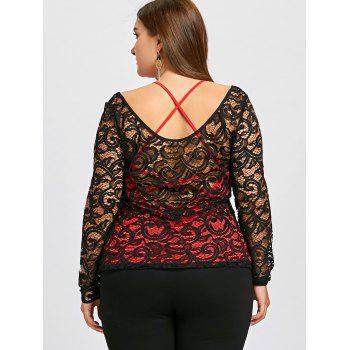 Plus Size Lace Blouse with Criss Cross Tank Top - BLACK BLACK