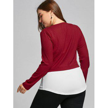High Low Two Tone Plus Size Blouse - WINE RED 5XL