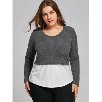 High Low Two Tone Plus Size Blouse - GRAY 6XL