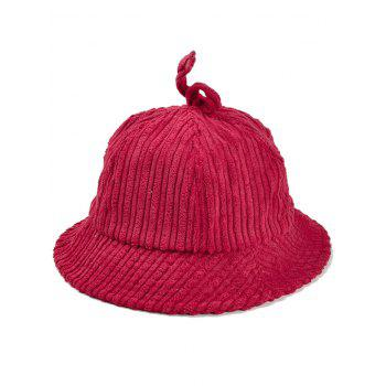 Outdoor Striped Pattern Decoarted Corduroy Bucket Hat - RED RED