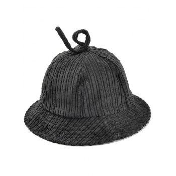 Outdoor Striped Pattern Decoarted Corduroy Bucket Hat - BLACK BLACK