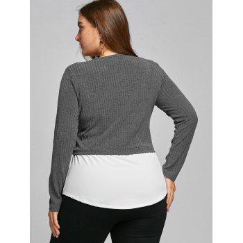 High Low Two Tone Plus Size Blouse - GRAY GRAY