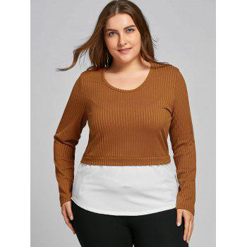High Low Two Tone Plus Size Blouse - COFFEE COFFEE
