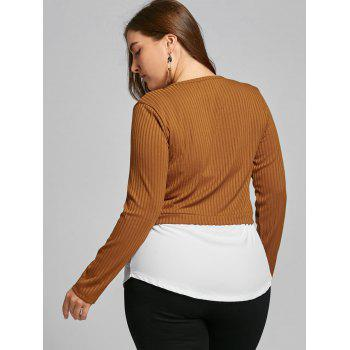 High Low Two Tone Plus Size Blouse - COFFEE 5XL