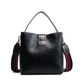 Faux Leather Buckle Strap Stitching Handbag -  BLACK
