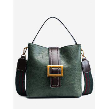 Faux Leather Buckle Strap Stitching Handbag - GREEN GREEN