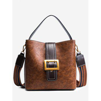 Faux Leather Buckle Strap Stitching Handbag - BROWN BROWN
