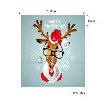 Christmas Deer with Glasses Pattern Stair Stickers - COLORMIX 100*18CM*6PCS