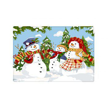 Christmas Snowmen Family Trees Pattern Indoor Outdoor Area Rug - COLORMIX W20 INCH * L31.5 INCH