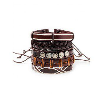 Vintage 5Pcs Punk Style Faux Leather Bracelets Set - BROWN BROWN