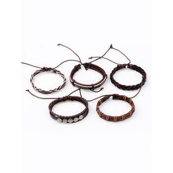 Vintage 5Pcs Punk Style Faux Leather Bracelets Set -  BROWN