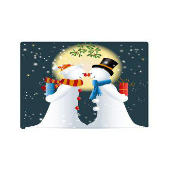 Christmas Moon Snowmen Couple Pattern Indoor Outdoor Area Rug - COLORMIX W16 INCH * L24 INCH