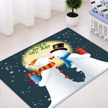 Christmas Moon Snowmen Couple Pattern Indoor Outdoor Area Rug - COLORMIX W20 INCH * L31.5 INCH