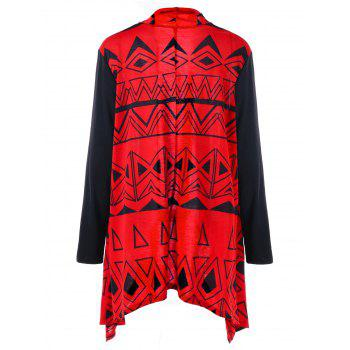 Asymmetric Plus Size Color Block Geometric Cardigan - BLACK/RED 3XL