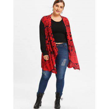 Asymmetric Plus Size Color Block Geometric Cardigan - BLACK/RED 4XL