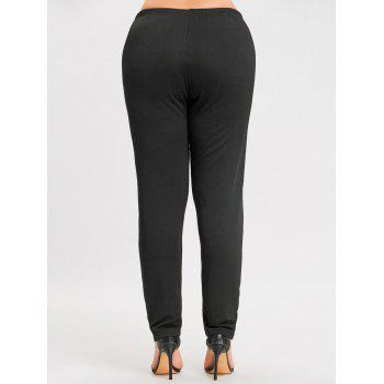 Flocking Plus Size Leggings - BLACK BLACK