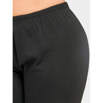 Flocking Plus Size Leggings - BLACK 4XL