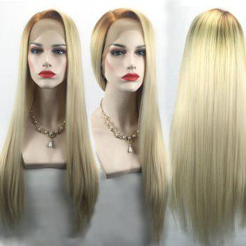 Long Ombre Side Parting Straight Lace Front Synthetic Wig - BROWN + GOLDEN BROWN / GOLDEN