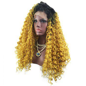 Long Free Part Fluffy Curly Colormix Lace Front Synthetic Wig -  BLACK/GOLDEN