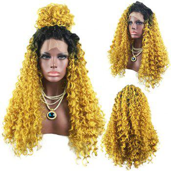 Long Free Part Fluffy Curly Colormix Lace Front Synthetic Wig - BLACK AND GOLDEN BLACK/GOLDEN