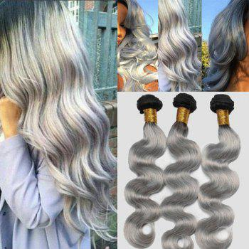 7A Virgin Body Wave Chinese Human Hair Weaves - BLACK GREY BLACK GREY
