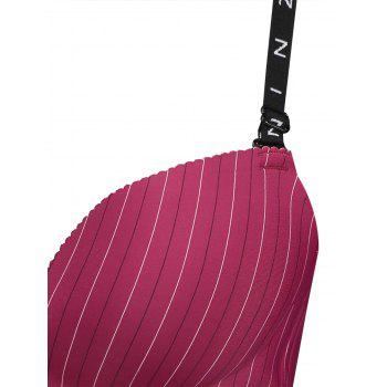 Seamless Striped Adjustable Strap Bra - WINE RED 80B