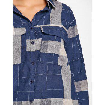 Long Sleeve Plaid Midi Shirt Dress - DEEP BLUE M
