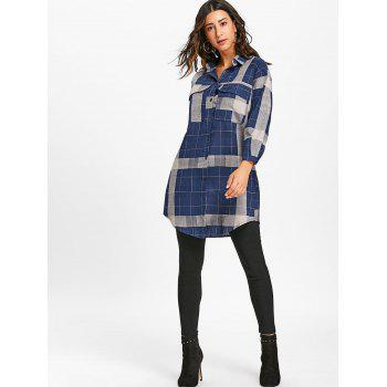 Long Sleeve Plaid Midi Shirt Dress - DEEP BLUE XL