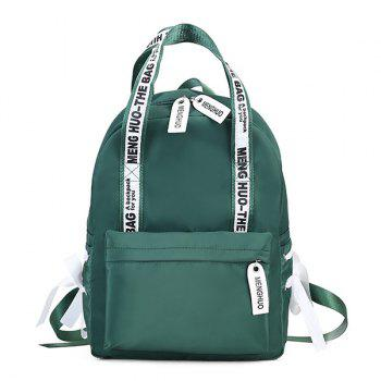 Ribbon Bowknot Letter Print Backpack - GREEN GREEN