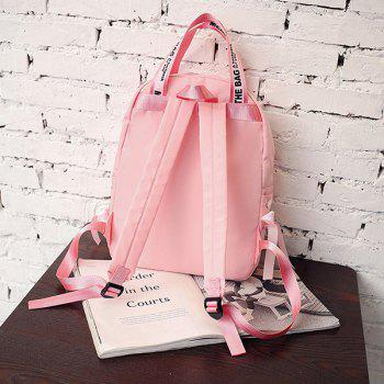 Ribbon Bowknot Letter Print Backpack -  PINK