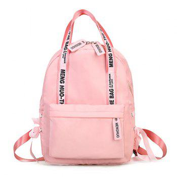 Ribbon Bowknot Letter Print Backpack - PINK PINK
