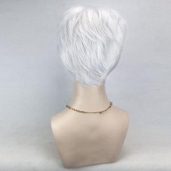 Perruque Synthétique Courte Inclinée Straight Cosplay - Blanc Argent