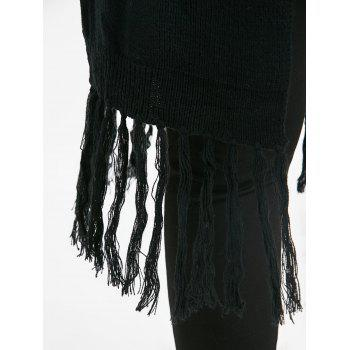 Plus Size Tassel Long Shawl Collar Cardigan - BLACK BLACK
