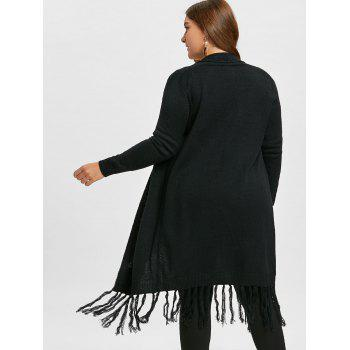 Plus Size Tassel Long Shawl Collar Cardigan - BLACK ONE SIZE